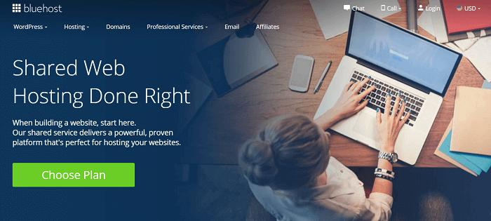 Bluehost shared hosting