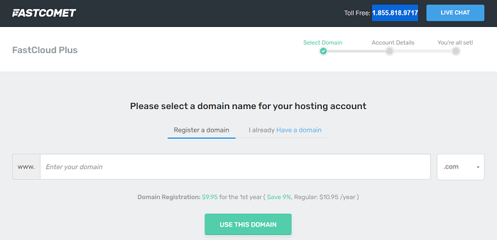 FastComet signup